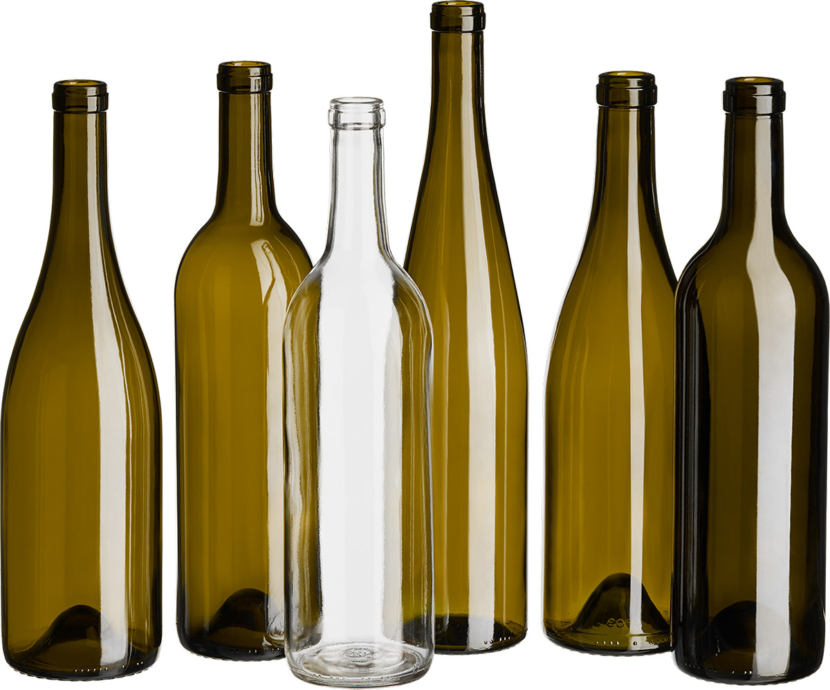 wholesale wine bottles group photograph